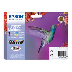 Cartouche Epson T0807 Multipack Noir + 5 Couleurs