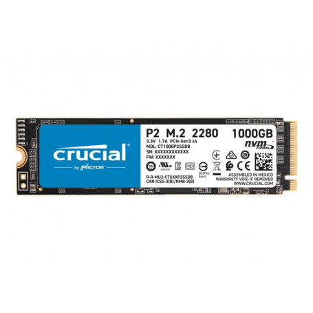 SSD 1To Crucial P2 M.2 NVMe PCIe Type 2280 2400Mo/s 1800Mo/s SSD1T_C_P2-M2 - 1