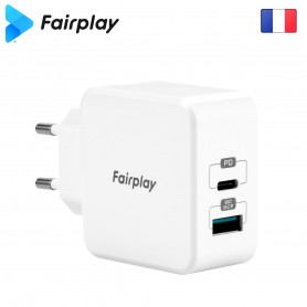Alimentation Secteur 220V vers USB-C USB-A PD 30W Fairplay MONZA ALIMUSBFP-MNZ-02 - 3