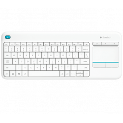 Clavier Logitech Wireless TouchPad Keyboard K400 Plus Blanc