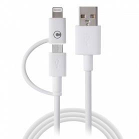 Câble Campus CB-IP5MU Dual Smart micro USB + Apple Lightning